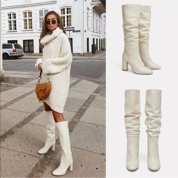Zara White High Heeled Leather Boots